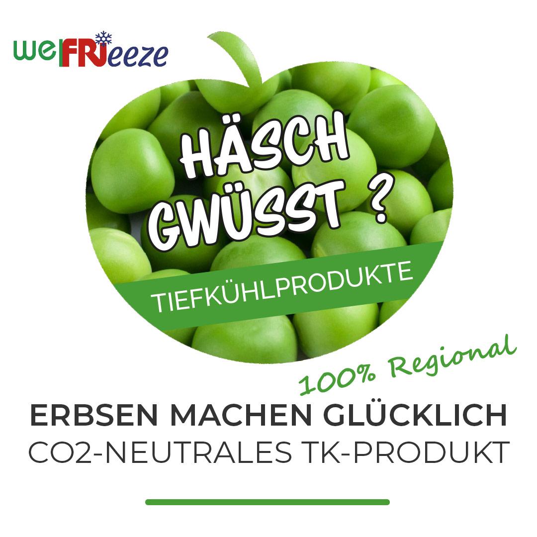 welFRIeeze - Gartenerbsen mittelfein & Lattich Streifen in Würfeln